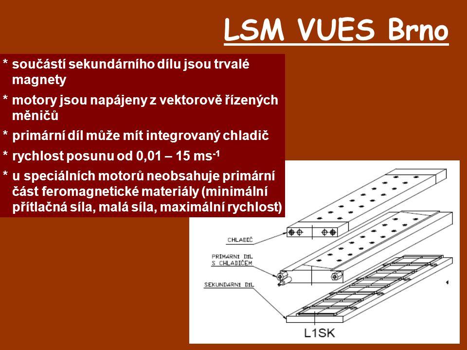 LSM VUES Brno *součástí sekundárního dílu jsou trvalé magnety *motory jsou napájeny z vektorově řízených měničů *primární díl může mít integrovaný chl