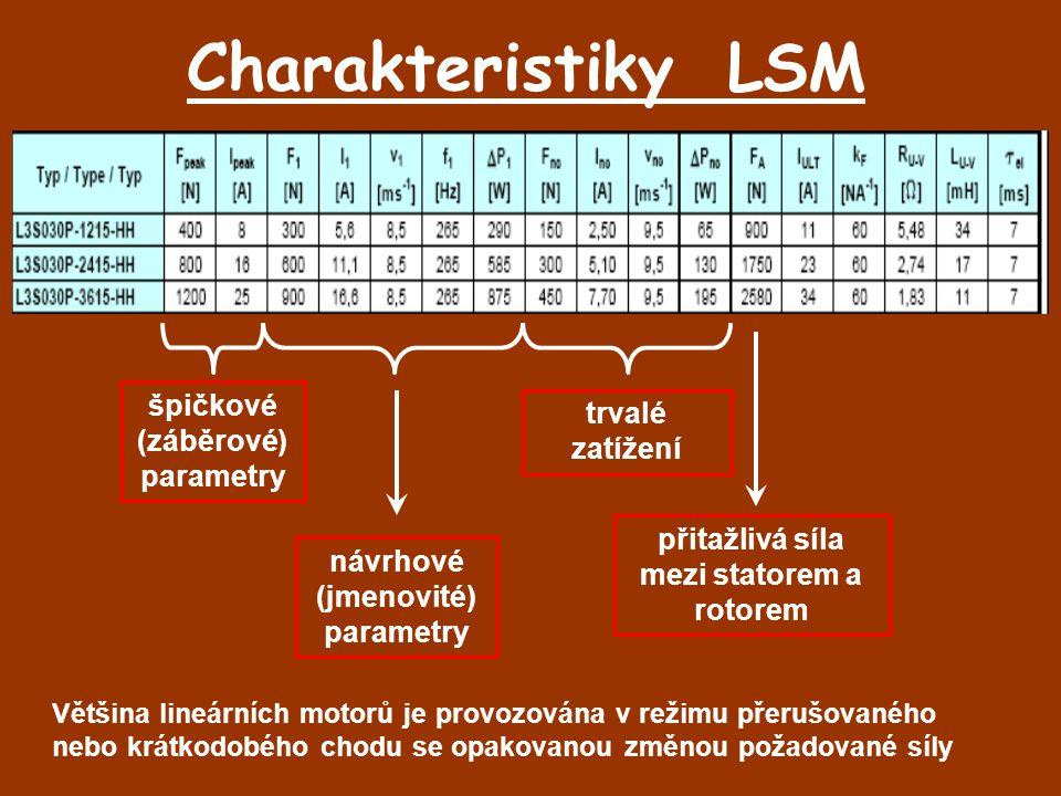 Charakteristiky LSM návrhové (jmenovité) parametry špičkové (záběrové) parametry trvalé zatížení přitažlivá síla mezi statorem a rotorem Většina lineá