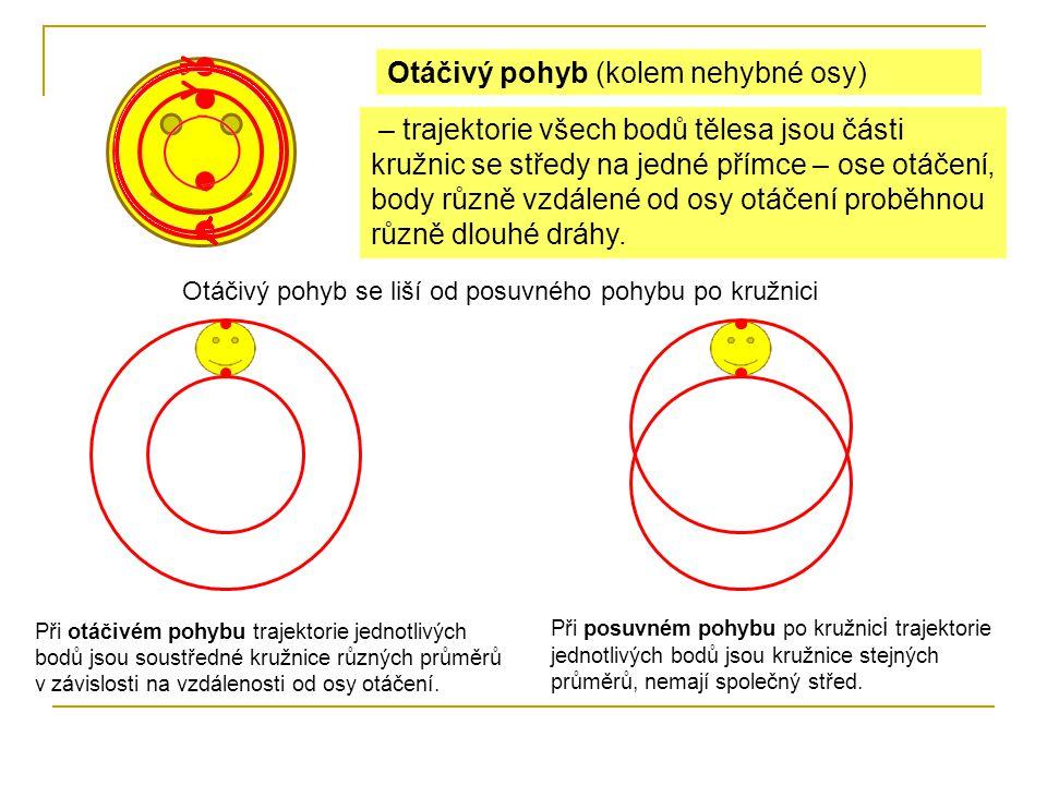 Otáčivý pohyb (kolem nehybné osy) – trajektorie všech bodů tělesa jsou části kružnic se středy na jedné přímce – ose otáčení, body různě vzdálené od osy otáčení proběhnou různě dlouhé dráhy.