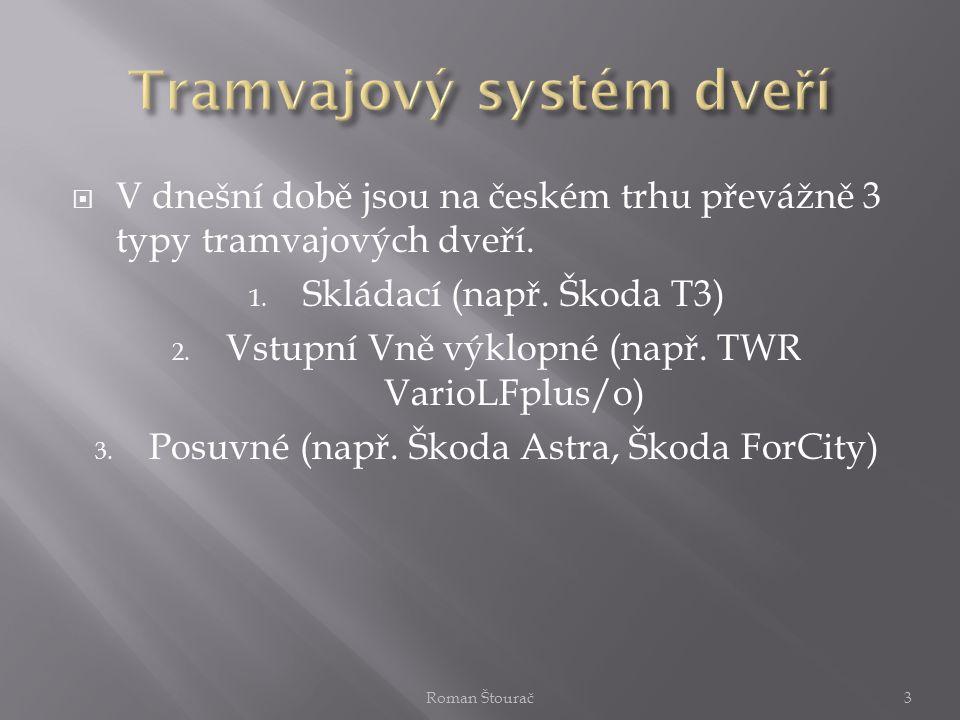  V dnešní době jsou na českém trhu převážně 3 typy tramvajových dveří. 1. Skládací (např. Škoda T3) 2. Vstupní Vně výklopné (např. TWR VarioLFplus/o)