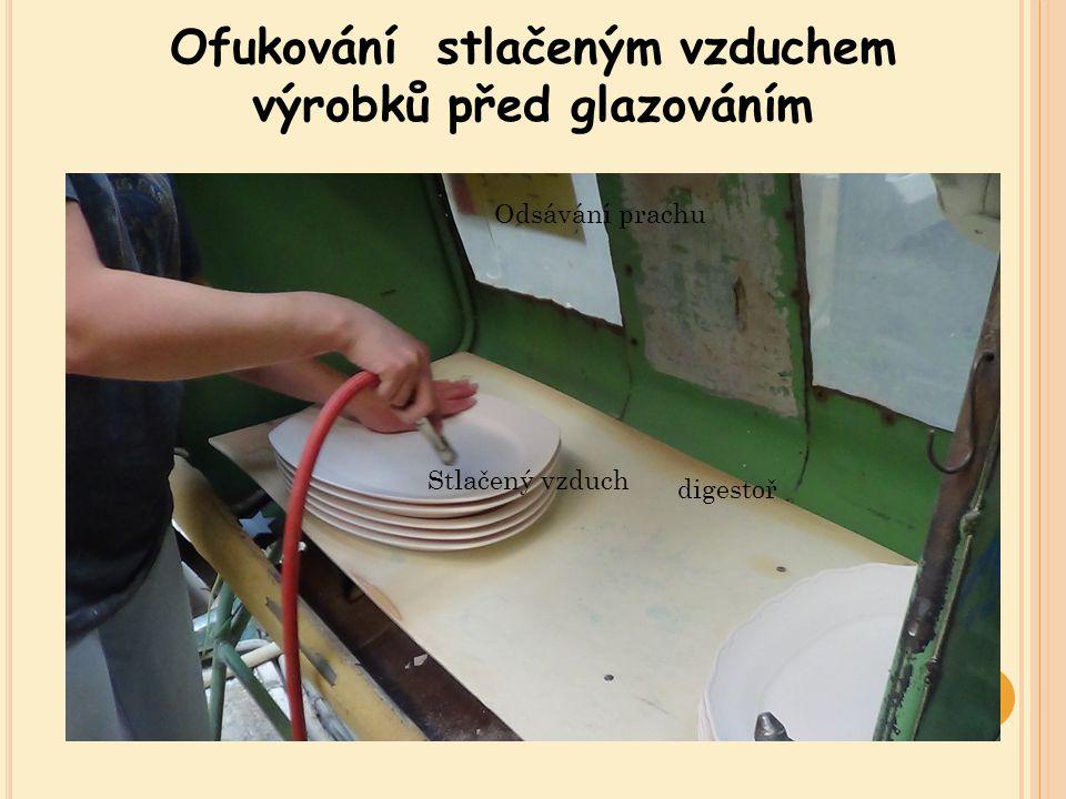Ofukování stlačeným vzduchem výrobků před glazováním digestoř Stlačený vzduch Odsávání prachu