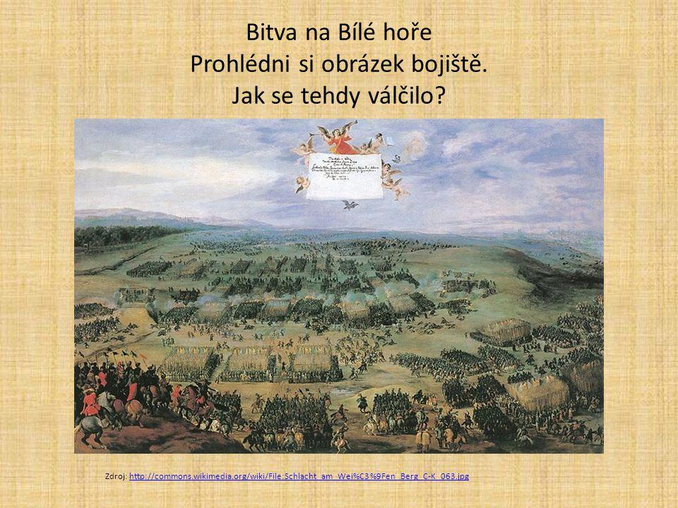 Bitva na Bílé hoře 8.listopadu 1620 rozhodující bitva českého stavovského povstání zbytečná porážka stavovského vojska (nevyplacený žold, nespokojenost, demoralizace, zbabělý útěk) katastrofální důsledky