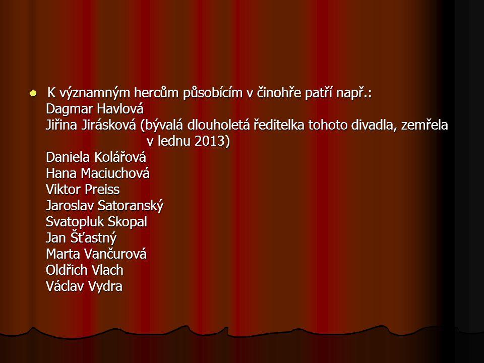 K významným hercům působícím v činohře patří např.: K významným hercům působícím v činohře patří např.: Dagmar Havlová Dagmar Havlová Jiřina Jirásková
