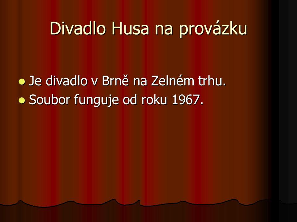 Divadlo Husa na provázku Je divadlo v Brně na Zelném trhu. Je divadlo v Brně na Zelném trhu. Soubor funguje od roku 1967. Soubor funguje od roku 1967.