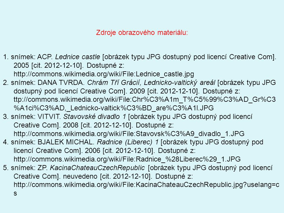 1. snímek: ACP. Lednice castle [obrázek typu JPG dostupný pod licencí Creative Com].