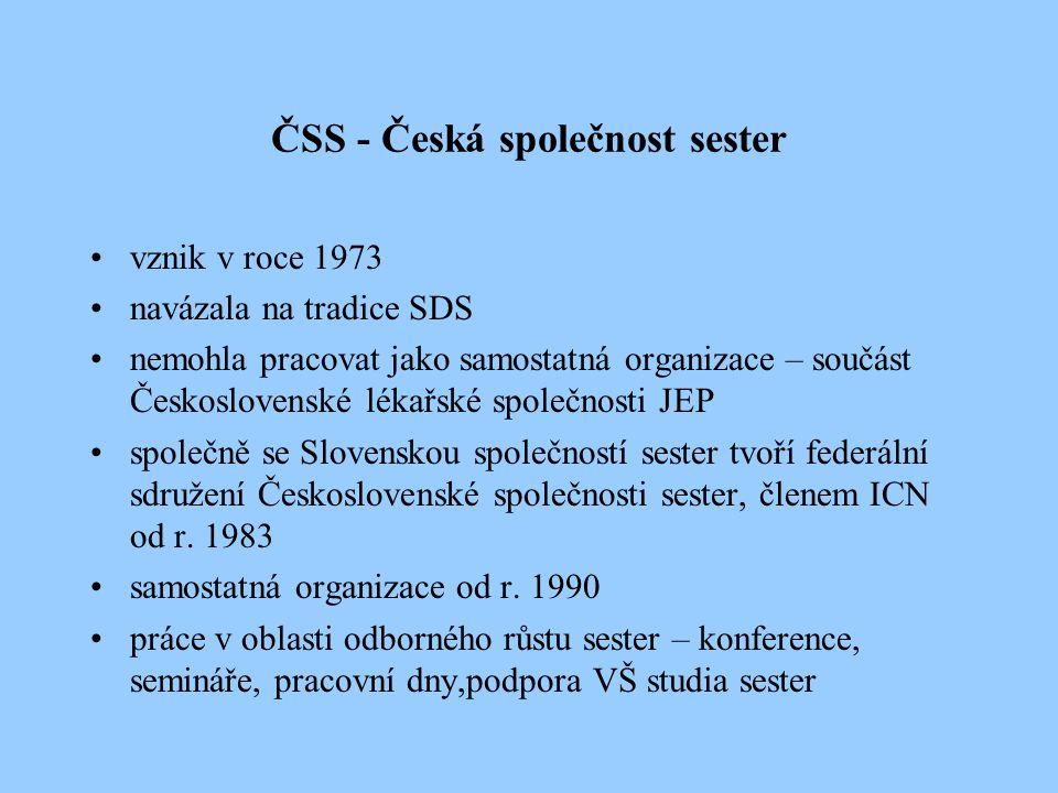 ČAS – Česká asociace sester Vznik v roce 1991, sloučení ČAS a ČSS 4.2.2000 odborná, stavovská, dobrovolná, nezisková, profesní organizace sester sdružuje sestry a další kategorie SZP (v resortu zdravotnictví, sociálního zabezpečení, školství) organizované do jednotlivých sekcí, regionů nejvyšší orgán – Fórum delegátů, volí devítičlenné prezidium a revizní komisi prezidentka H.