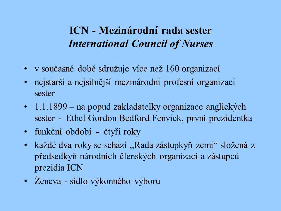 Cíle ICN podporovat vznik národních společností sester v dalších zemích pomáhat sestrám ve snaze o zlepšení kvality ošetřovatelské péče podporovat úsilí sester o vysokou kvalitu jejich kvalifikační a specializační přípravy rozvoj teoretické a praktické báze ošetřovatelství a podpora ošetřovatelského výzkumu usilovat o zlepšení sociálního postavení sester, být významným zástupcem sester na mezinárodní úrovni
