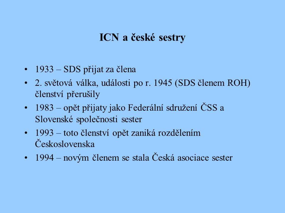 WENR – Pracovní skupina sester pracujících ve výzkumu pracuje od roku 1978 sdružuje zástupce členských organizací ICN z více než 25 zemí 1985 - ČSS se stala členem této skupiny schází se každoročně k pracovnímu jednání každé dva roky pořádá mezinárodní konferenci v roce 1993 zasedala skupina v Praze (v historii českého ošetřovatelství první mezinárodní setkání sester z celé Evropy)