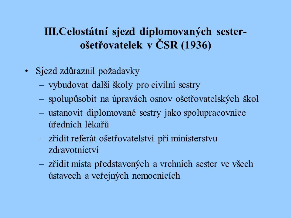 V roce 1938 – ustaven ošetřovatelský poradní sbor při ministerstvu zdravotnictví –ošetřovatelské školy,krátkodobé kurzy –organizace práce v ústavech SDS – darován pozemek v Kunraticích, budována zotavovna pro sestry snaha o rozšíření působnosti – Brno, Slovensko, Podkarpatská Rus ukončení činnosti SDS v r.