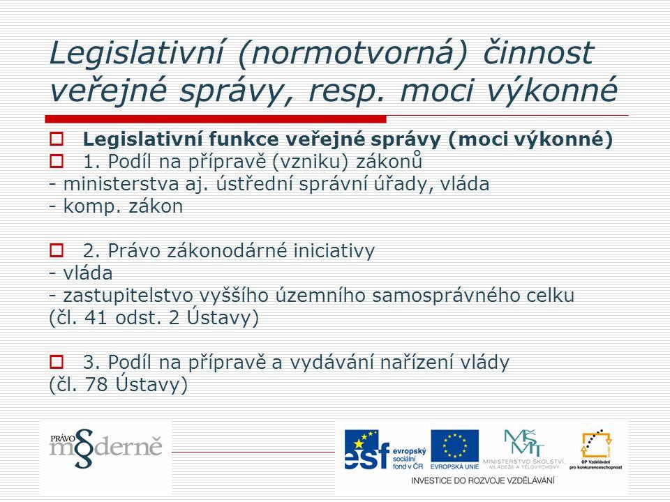 Legislativní (normotvorná) činnost veřejné správy, resp.