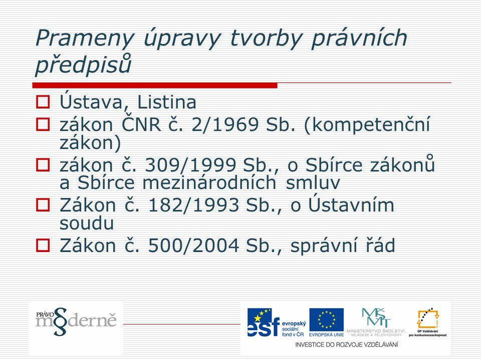 Prameny úpravy tvorby právních předpisů  Ústava, Listina  zákon ČNR č.