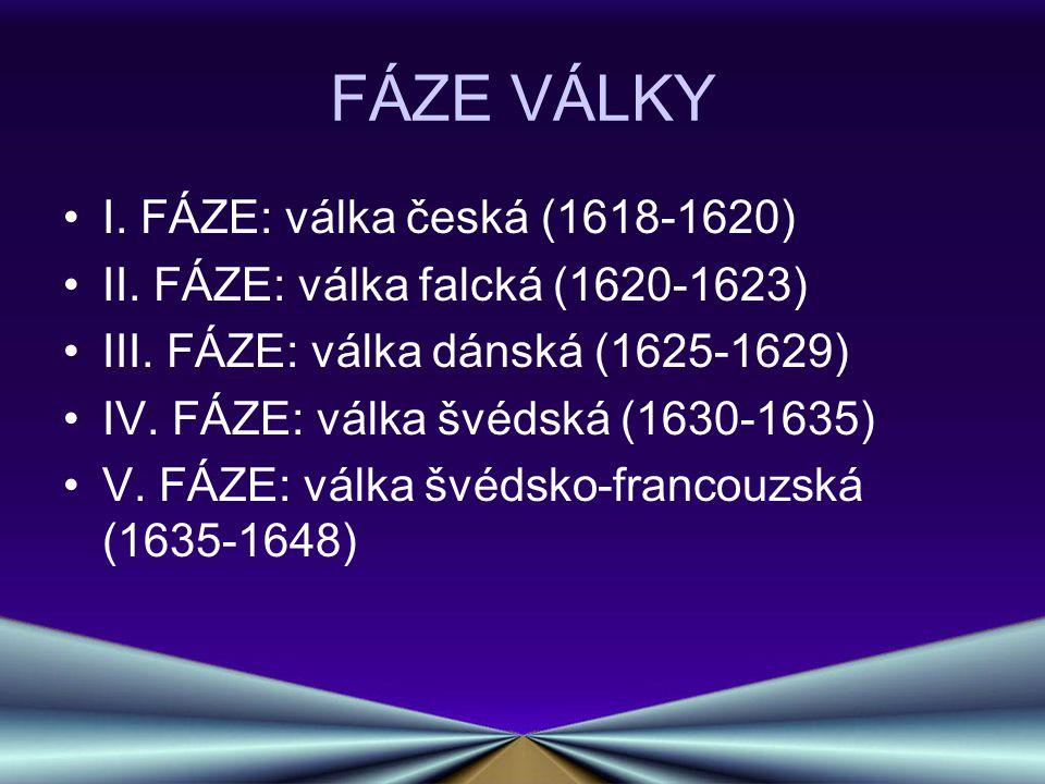 FÁZE VÁLKY I. FÁZE: válka česká (1618-1620) II. FÁZE: válka falcká (1620-1623) III. FÁZE: válka dánská (1625-1629) IV. FÁZE: válka švédská (1630-1635)