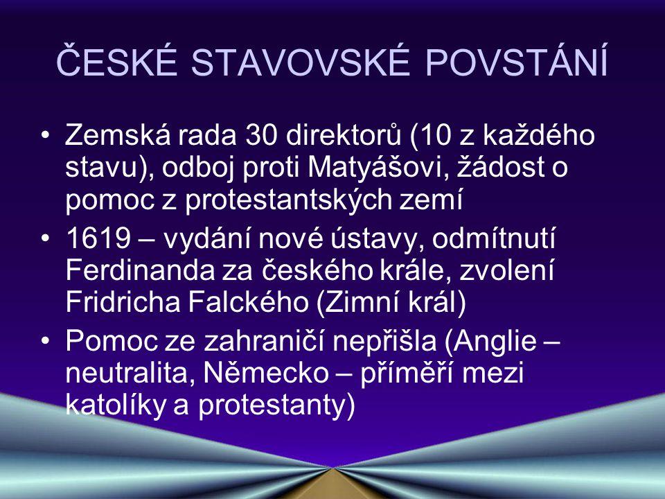 ČESKÉ STAVOVSKÉ POVSTÁNÍ Zemská rada 30 direktorů (10 z každého stavu), odboj proti Matyášovi, žádost o pomoc z protestantských zemí 1619 – vydání nov