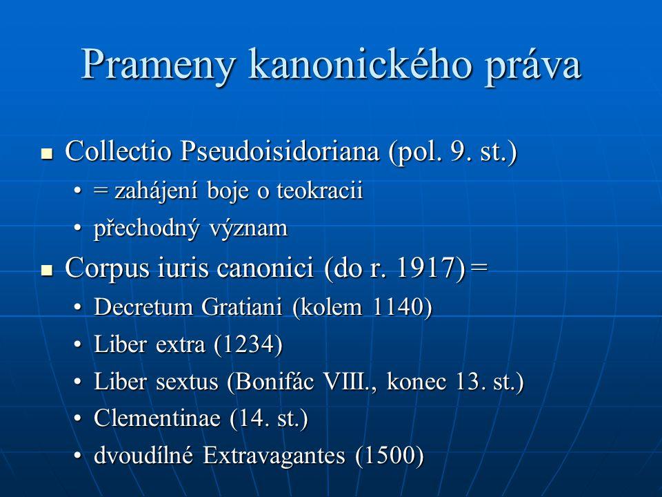 Prameny kanonického práva Collectio Pseudoisidoriana (pol. 9. st.) Collectio Pseudoisidoriana (pol. 9. st.) = zahájení boje o teokracii= zahájení boje