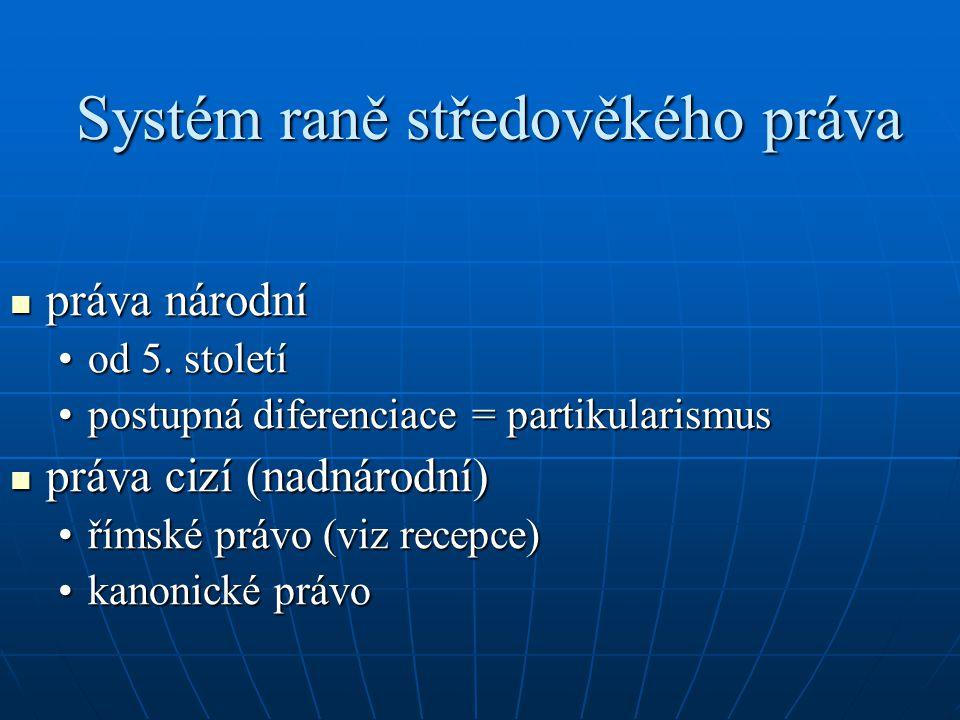 Systém raně středověkého práva práva národní práva národní od 5. stoletíod 5. století postupná diferenciace = partikularismuspostupná diferenciace = p