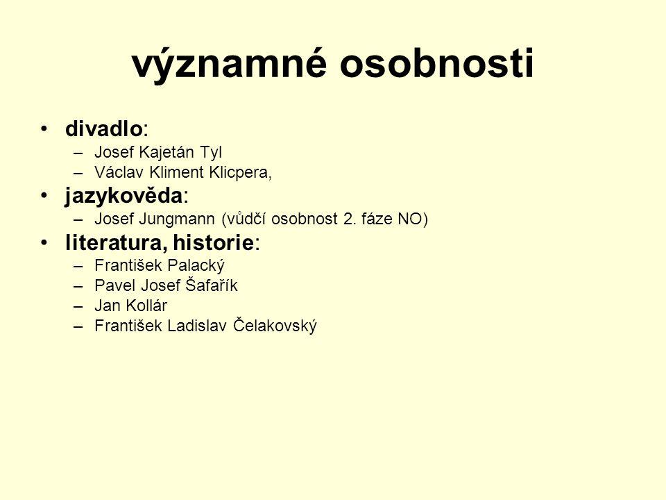 významné osobnosti divadlo: –Josef Kajetán Tyl –Václav Kliment Klicpera, jazykověda: –Josef Jungmann (vůdčí osobnost 2. fáze NO) literatura, historie: