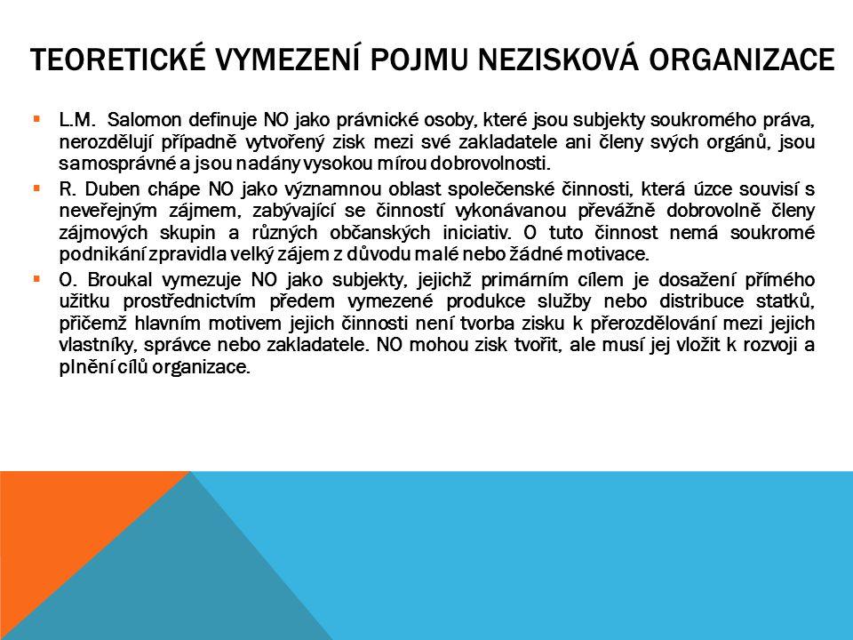 TEORETICKÉ VYMEZENÍ POJMU NEZISKOVÁ ORGANIZACE Zákon č.