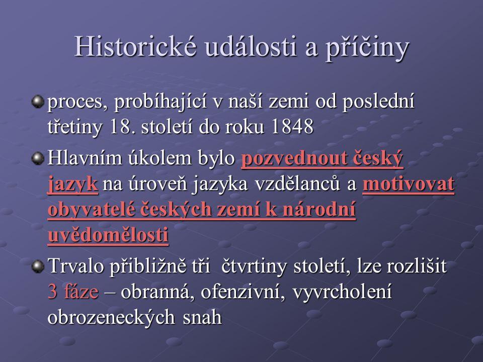 Historické události a příčiny proces, probíhající v naší zemi od poslední třetiny 18. století do roku 1848 Hlavním úkolem bylo pozvednout český jazyk