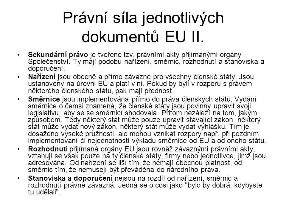 Právní síla jednotlivých dokumentů EU II. Sekundární právo je tvořeno tzv. právními akty přijímanými orgány Společenství. Ty mají podobu nařízení, smě