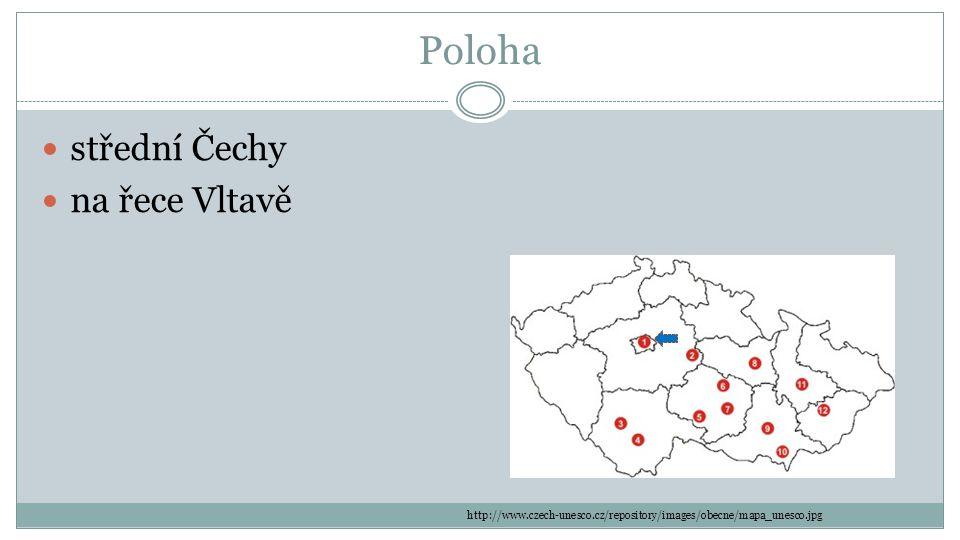 Poloha střední Čechy na řece Vltavě http://www.czech-unesco.cz/repository/images/obecne/mapa_unesco.jpg