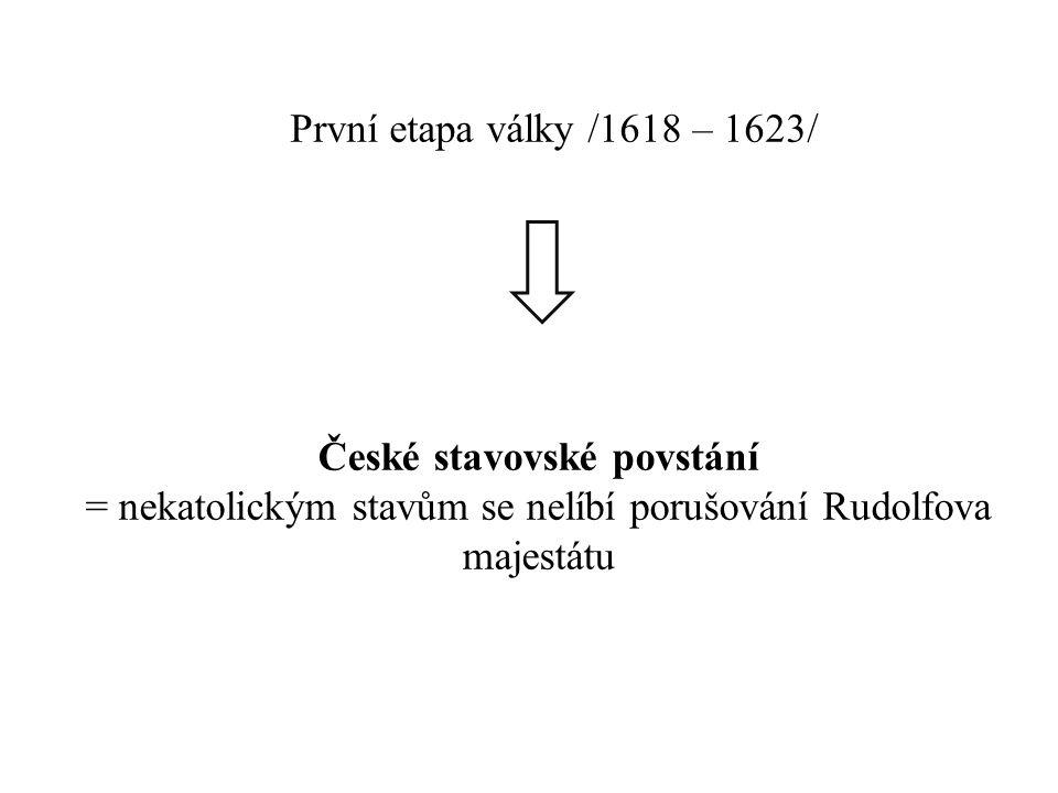 České stavovské povstání = nekatolickým stavům se nelíbí porušování Rudolfova majestátu První etapa války /1618 – 1623/