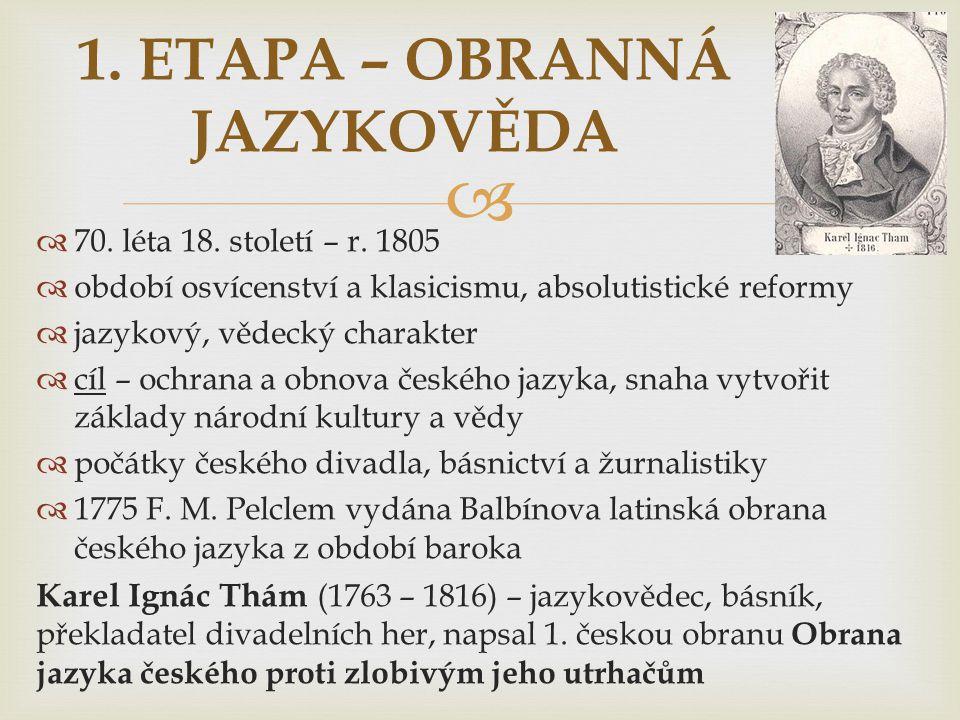   70. léta 18. století – r. 1805  období osvícenství a klasicismu, absolutistické reformy  jazykový, vědecký charakter  cíl – ochrana a obnova če
