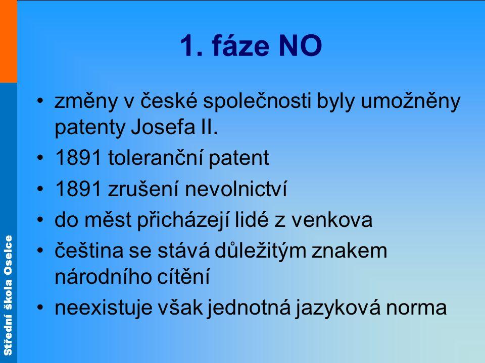 Střední škola Oselce 1. fáze NO změny v české společnosti byly umožněny patenty Josefa II. 1891 toleranční patent 1891 zrušení nevolnictví do měst při