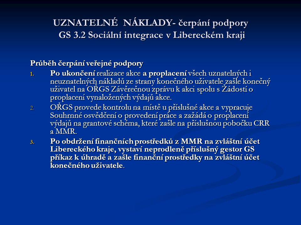 UZNATELNÉ NÁKLADY- čerpání podpory GS 3.2 Sociální integrace v Libereckém kraji Průběh čerpání veřejné podpory 1. Po ukončení realizace akce a proplac