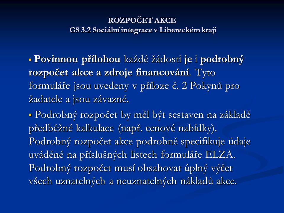 ROZPOČET AKCE GS 3.2 Sociální integrace v Libereckém kraji  Povinnou přílohou každé žádosti je i podrobný rozpočet akce a zdroje financování.