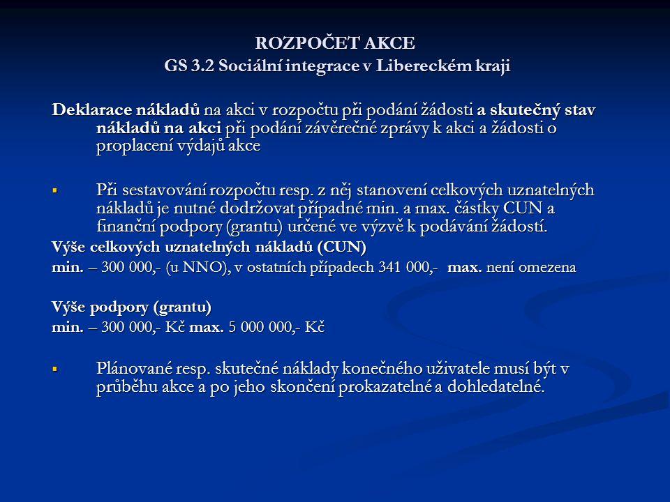 ROZPOČET AKCE GS 3.2 Sociální integrace v Libereckém kraji Deklarace nákladů na akci v rozpočtu při podání žádosti a skutečný stav nákladů na akci při podání závěrečné zprávy k akci a žádosti o proplacení výdajů akce  Při sestavování rozpočtu resp.