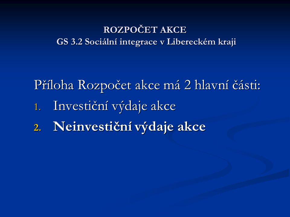 ROZPOČET AKCE GS 3.2 Sociální integrace v Libereckém kraji Příloha Rozpočet akce má 2 hlavní části: 1. Investiční výdaje akce 2. Neinvestiční výdaje a
