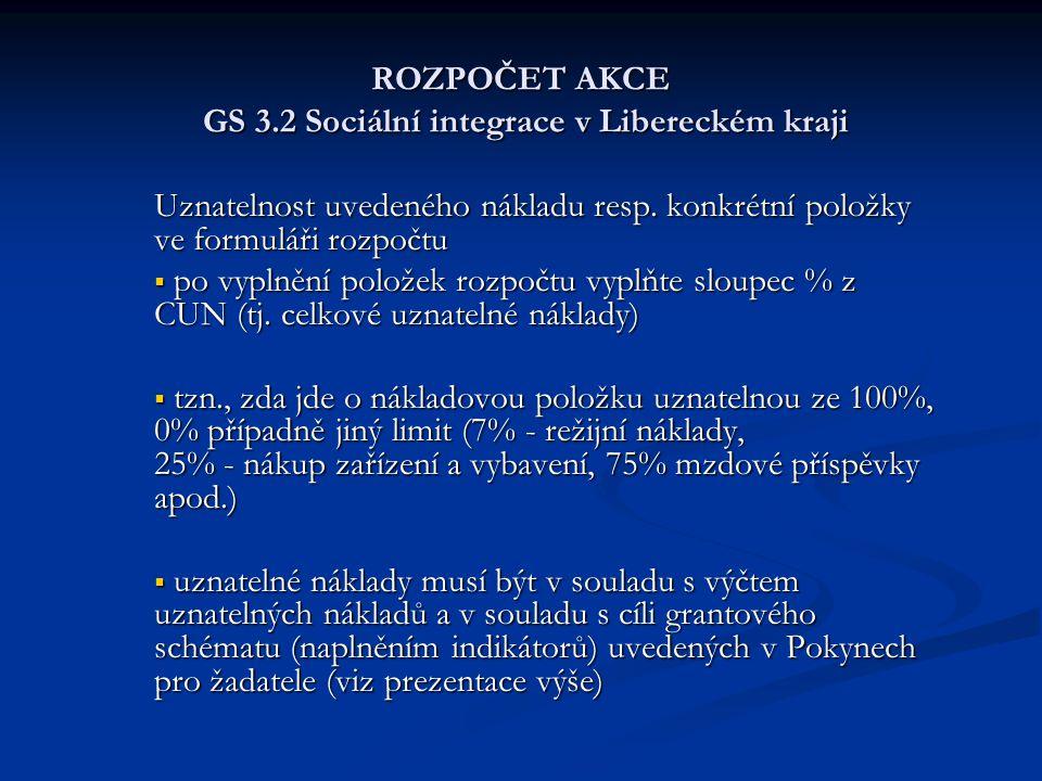 ROZPOČET AKCE GS 3.2 Sociální integrace v Libereckém kraji Uznatelnost uvedeného nákladu resp. konkrétní položky ve formuláři rozpočtu  po vyplnění p