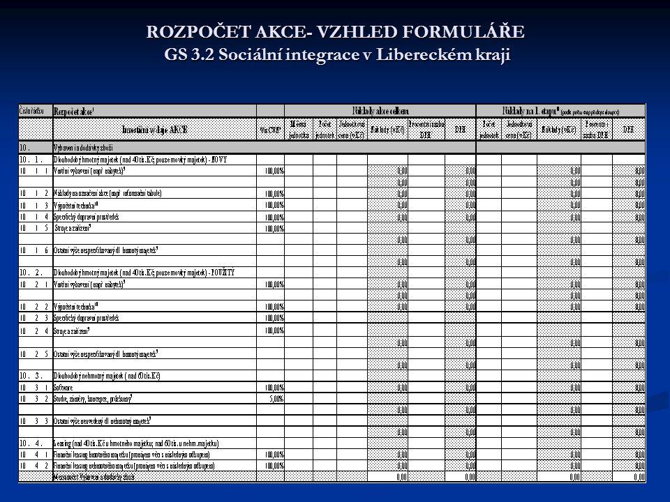 ROZPOČET AKCE- VZHLED FORMULÁŘE GS 3.2 Sociální integrace v Libereckém kraji
