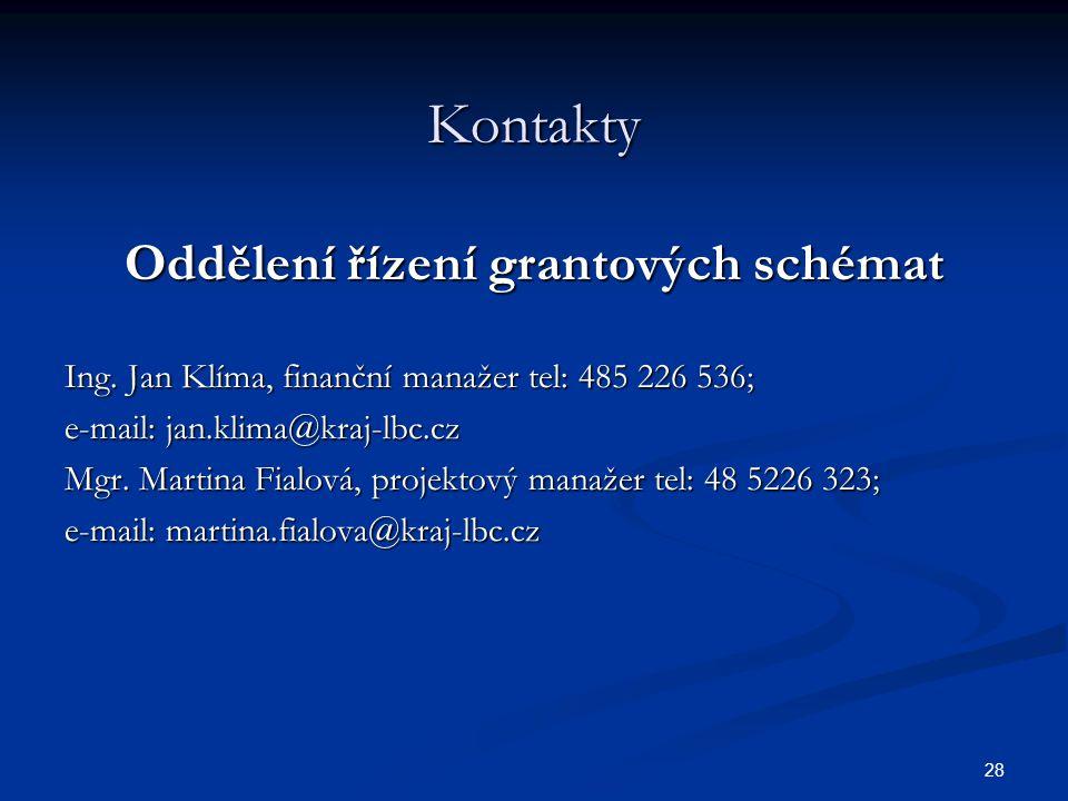 28 Kontakty Oddělení řízení grantových schémat Ing.