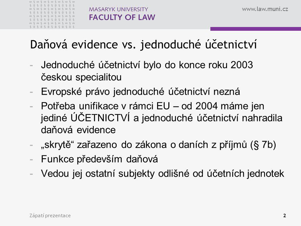 www.law.muni.cz Zápatí prezentace3 Slovy zákona Daňová evidence zajišťuje zjištění základu daně z příjmů a obsahuje údaje o a) příjmech a výdajích, v členění potřebném pro zjištění základu daně (tedy členění na daňově uznatelné a neuznatelné výdaje - §§ 24-25 ZDP), b) majetku (tedy i pohledávkách) a závazcích Příjem a výdaj – skutečně přijaté či vynaložené částky Výnos a náklad – vyfakturované částky