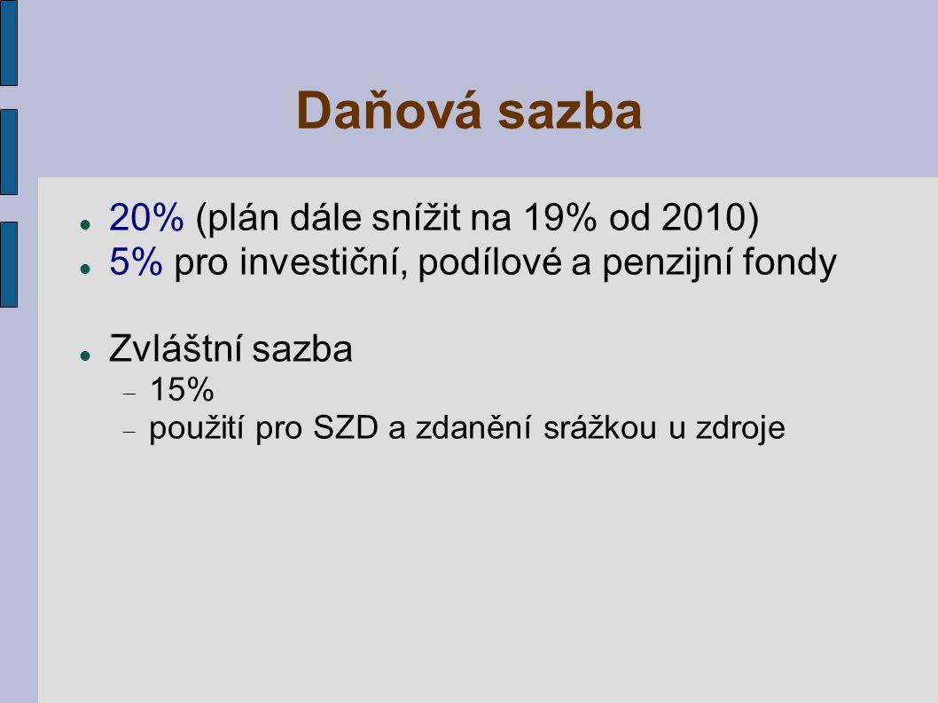 Daňová sazba 20% (plán dále snížit na 19% od 2010) 5% pro investiční, podílové a penzijní fondy Zvláštní sazba  15%  použití pro SZD a zdanění srážk