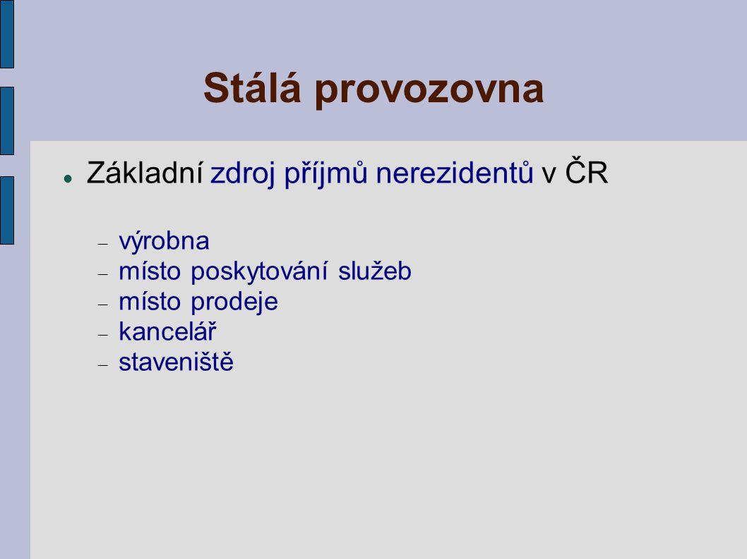 Stálá provozovna Základní zdroj příjmů nerezidentů v ČR  výrobna  místo poskytování služeb  místo prodeje  kancelář  staveniště