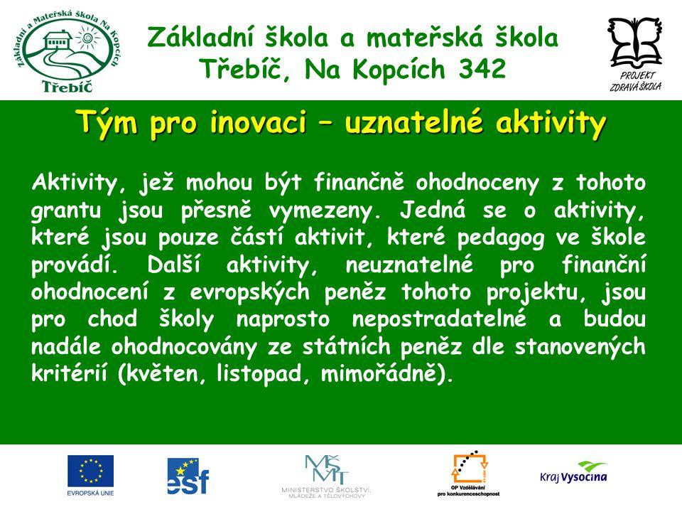 Základní škola a mateřská škola Třebíč, Na Kopcích 342 Tým pro inovaci – uznatelné aktivity Aktivity, jež mohou být finančně ohodnoceny z tohoto grant