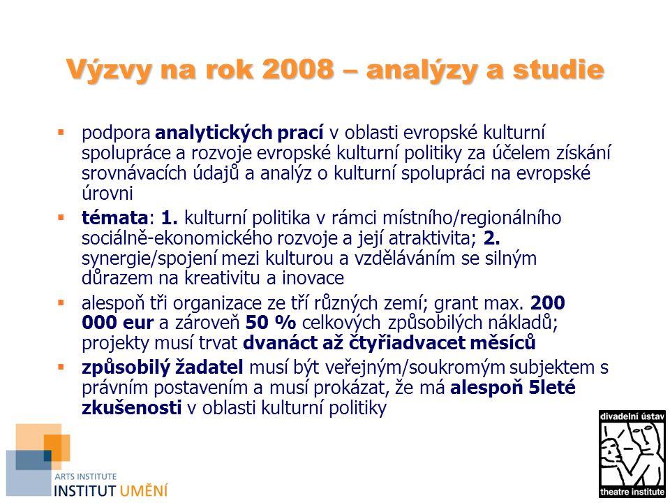 Výzvy na rok 2008 – analýzy a studie  podpora analytických prací v oblasti evropské kulturní spolupráce a rozvoje evropské kulturní politiky za účelem získání srovnávacích údajů a analýz o kulturní spolupráci na evropské úrovni  témata: 1.