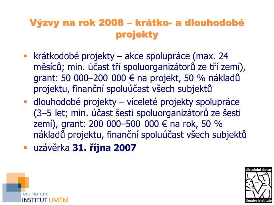 Výzvy na rok 2008 – krátko- a dlouhodobé projekty  krátkodobé projekty – akce spolupráce (max.