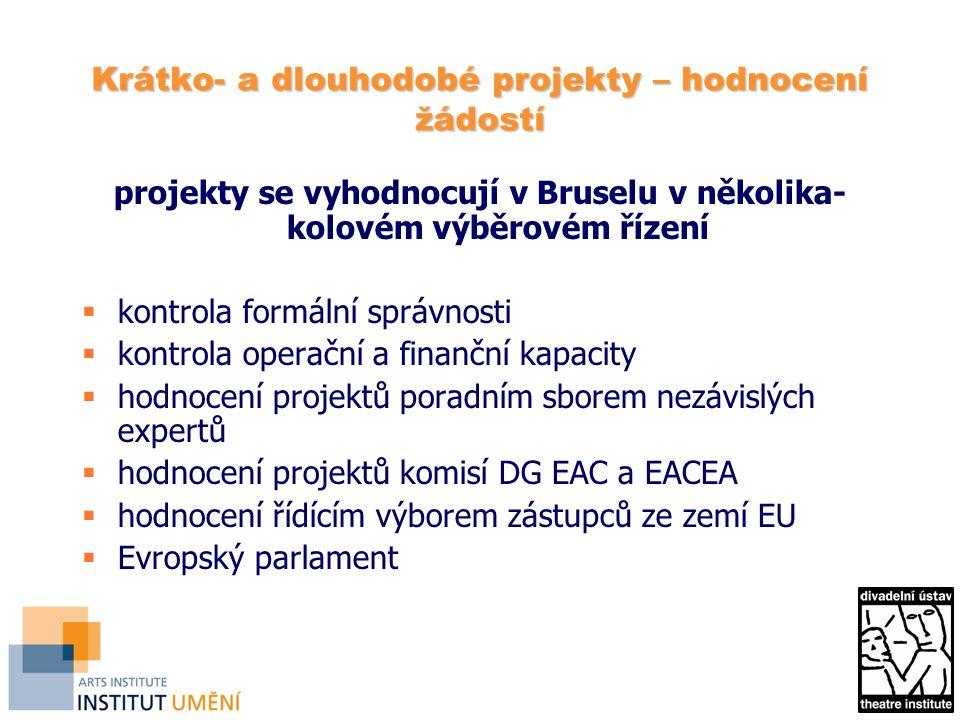 Krátko- a dlouhodobé projekty – hodnocení žádostí projekty se vyhodnocují v Bruselu v několika- kolovém výběrovém řízení  kontrola formální správnosti  kontrola operační a finanční kapacity  hodnocení projektů poradním sborem nezávislých expertů  hodnocení projektů komisí DG EAC a EACEA  hodnocení řídícím výborem zástupců ze zemí EU  Evropský parlament