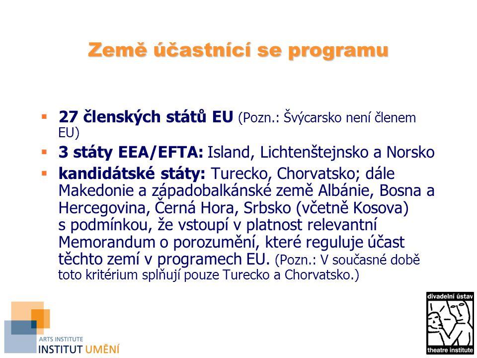Země účastnící se programu  27 členských států EU (Pozn.: Švýcarsko není členem EU)  3 státy EEA/EFTA: Island, Lichtenštejnsko a Norsko  kandidátské státy: Turecko, Chorvatsko; dále Makedonie a západobalkánské země Albánie, Bosna a Hercegovina, Černá Hora, Srbsko (včetně Kosova) s podmínkou, že vstoupí v platnost relevantní Memorandum o porozumění, které reguluje účast těchto zemí v programech EU.