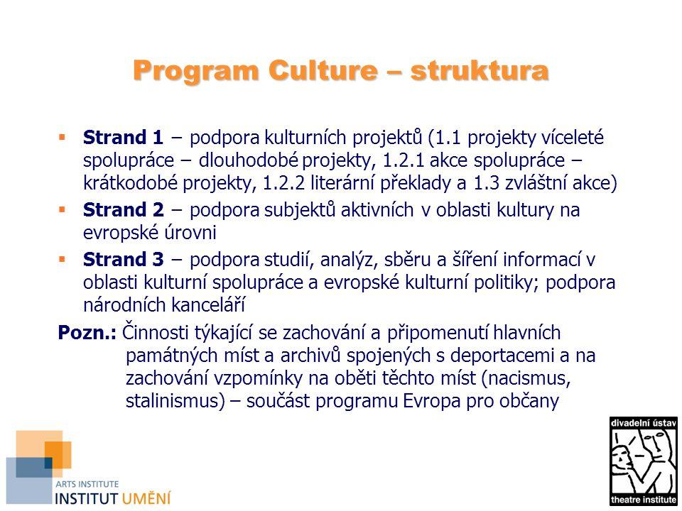 Program Culture – struktura  Strand 1 − podpora kulturních projektů (1.1 projekty víceleté spolupráce − dlouhodobé projekty, 1.2.1 akce spolupráce − krátkodobé projekty, 1.2.2 literární překlady a 1.3 zvláštní akce)  Strand 2 − podpora subjektů aktivních v oblasti kultury na evropské úrovni  Strand 3 − podpora studií, analýz, sběru a šíření informací v oblasti kulturní spolupráce a evropské kulturní politiky; podpora národních kanceláří Pozn.: Činnosti týkající se zachování a připomenutí hlavních památných míst a archivů spojených s deportacemi a na zachování vzpomínky na oběti těchto míst (nacismus, stalinismus) – součást programu Evropa pro občany