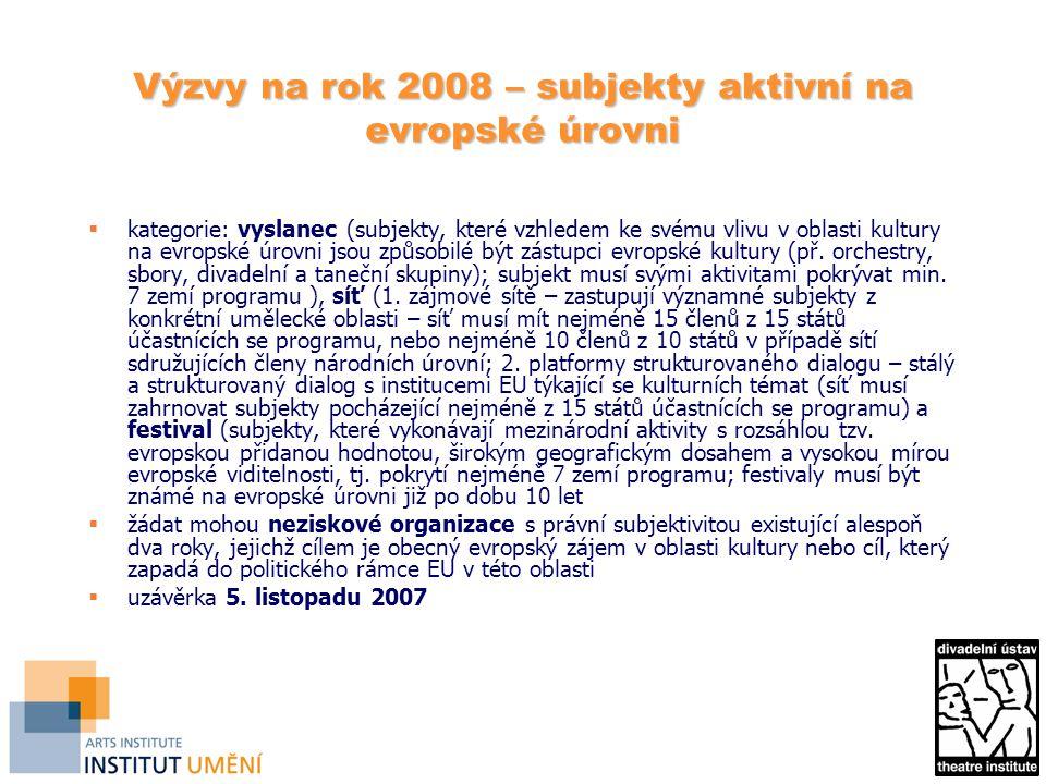 Výzvy na rok 2008 – subjekty aktivní na evropské úrovni  kategorie: vyslanec (subjekty, které vzhledem ke svému vlivu v oblasti kultury na evropské úrovni jsou způsobilé být zástupci evropské kultury (př.