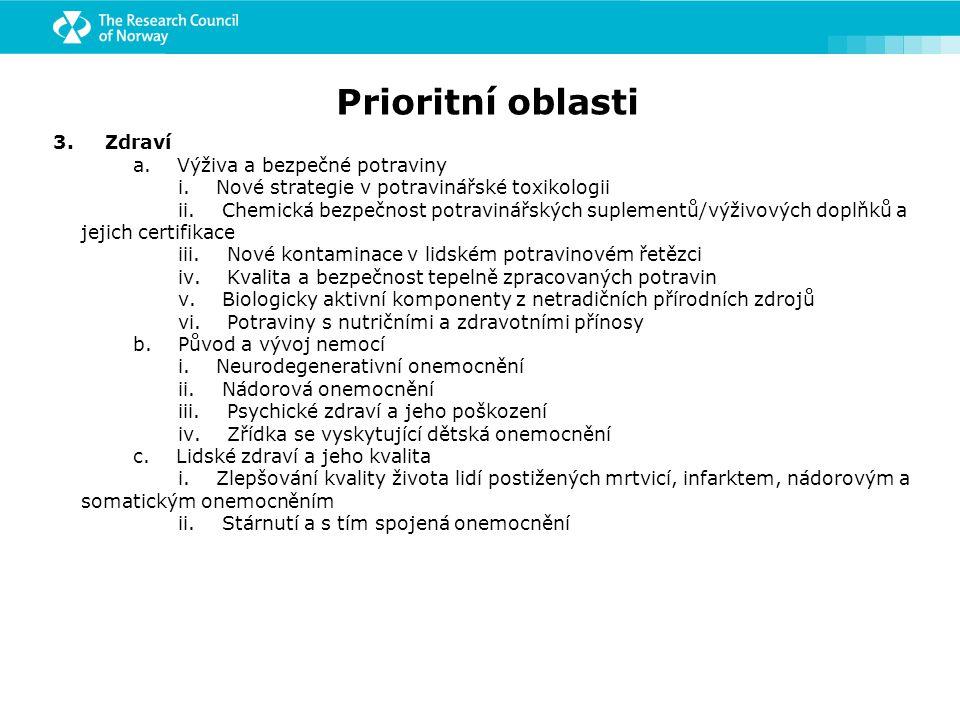 Prioritní oblasti 3. Zdraví a. Výživa a bezpečné potraviny i.