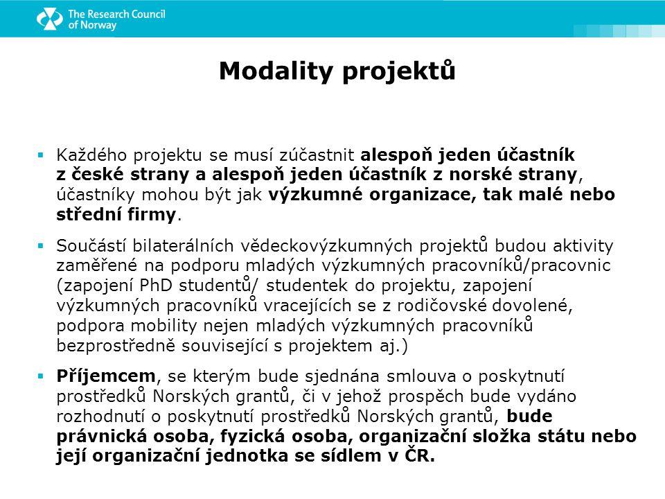 Modality projektů  Každého projektu se musí zúčastnit alespoň jeden účastník z české strany a alespoň jeden účastník z norské strany, účastníky mohou být jak výzkumné organizace, tak malé nebo střední firmy.