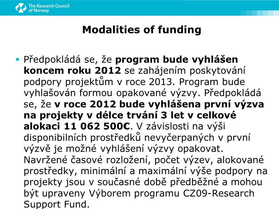 Modalities of funding  Předpokládá se, že program bude vyhlášen koncem roku 2012 se zahájením poskytování podpory projektům v roce 2013.