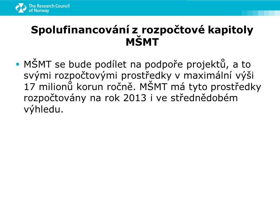 Spolufinancování z rozpočtové kapitoly MŠMT  MŠMT se bude podílet na podpoře projektů, a to svými rozpočtovými prostředky v maximální výši 17 milionů korun ročně.
