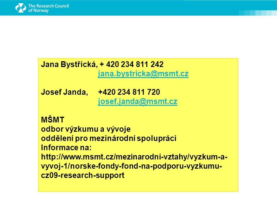 Jana Bystřická, + 420 234 811 242 jana.bystricka@msmt.cz Josef Janda, +420 234 811 720 josef.janda@msmt.cz MŠMT odbor výzkumu a vývoje oddělení pro mezinárodní spolupráci Informace na: http://www.msmt.cz/mezinarodni-vztahy/vyzkum-a- vyvoj-1/norske-fondy-fond-na-podporu-vyzkumu- cz09-research-support
