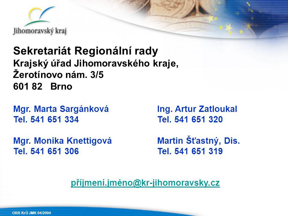 ORR KrÚ JMK 04/2004 Sekretariát Regionální rady Krajský úřad Jihomoravského kraje, Žerotínovo nám. 3/5 601 82 Brno Mgr. Marta SargánkováIng. Artur Zat